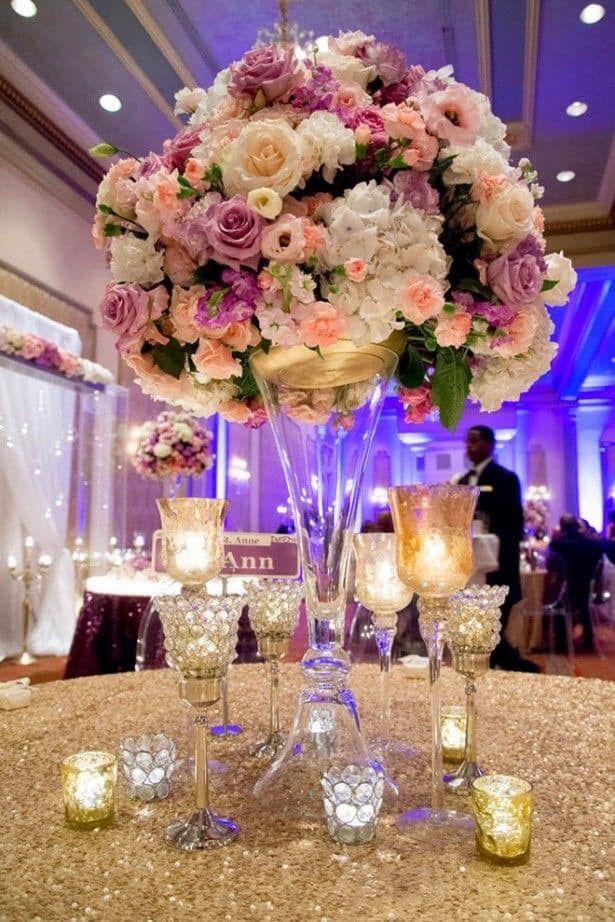 Ideas De Centros De Mesa Para Fiestas Elegant Wedding Centerpiece Wedding Centerpieces Tall Wedding Centerpieces