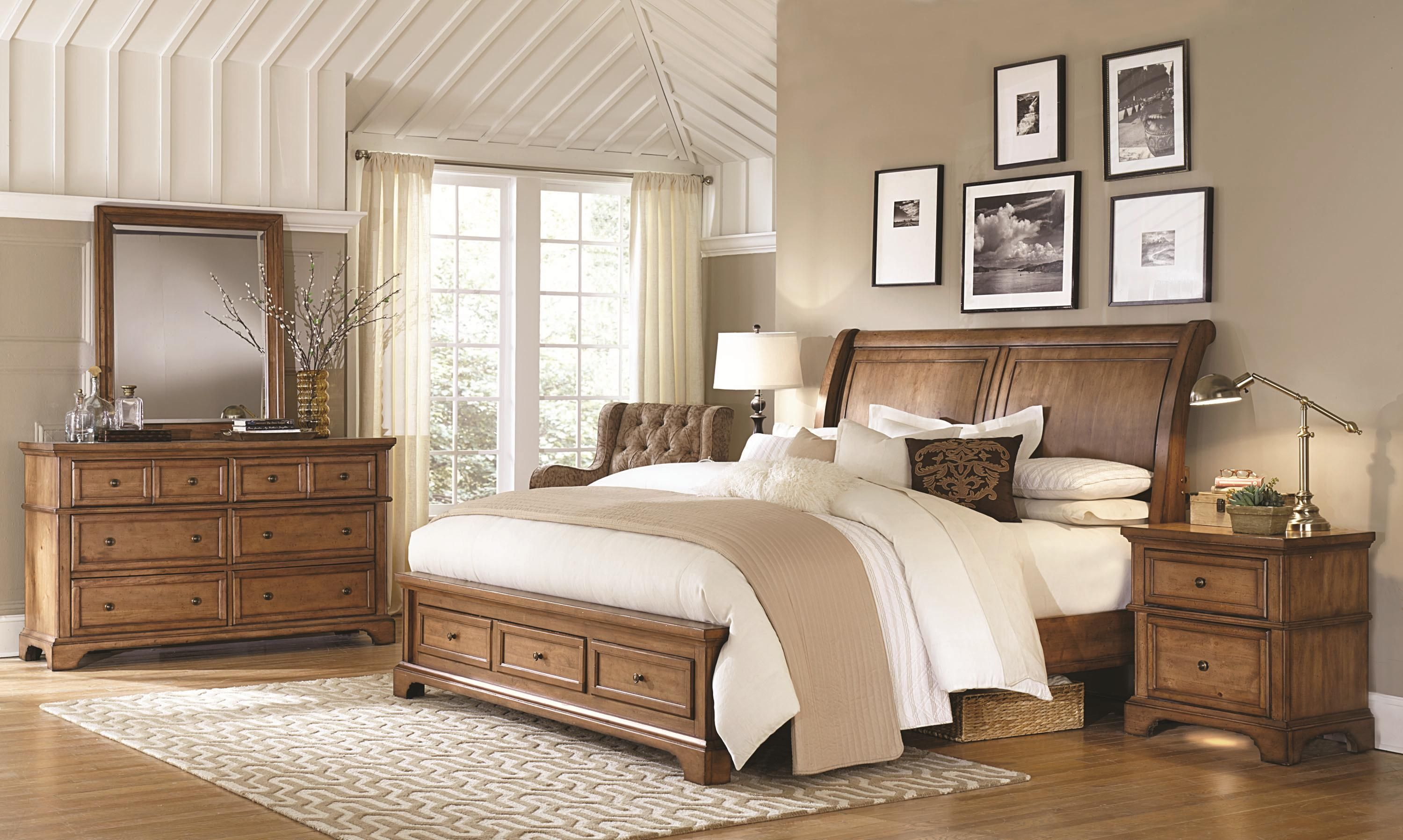 Walnut Creek King Low Profile Sleigh Storage Bed by Highland ...