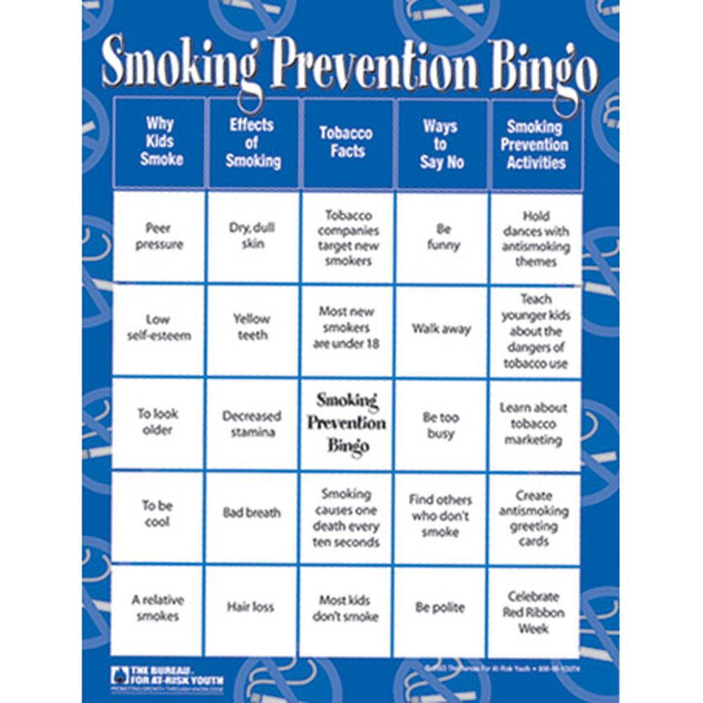 Smoking Prevention Bingo | Bingo Cards and Games | Pinterest