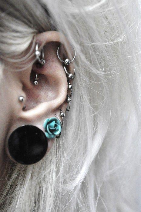 lots of ear piercings