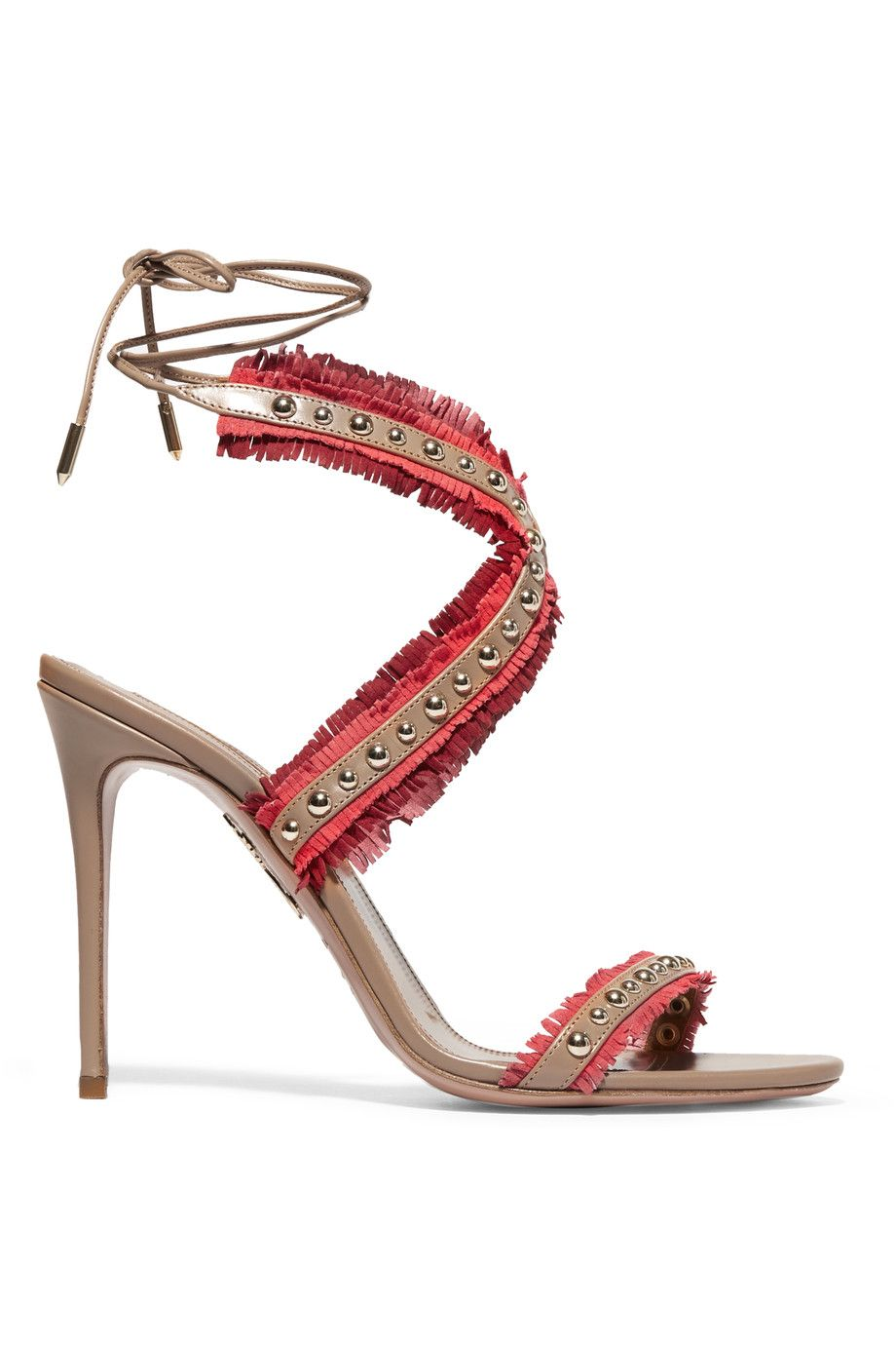 Aquazzura Studded Fringe Sandals clearance websites free shipping how much low cost cheap price M9ioC5Wb
