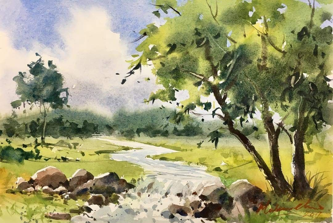 Marbin Chew Watercolor Landscape Paintings Scenery Paintings