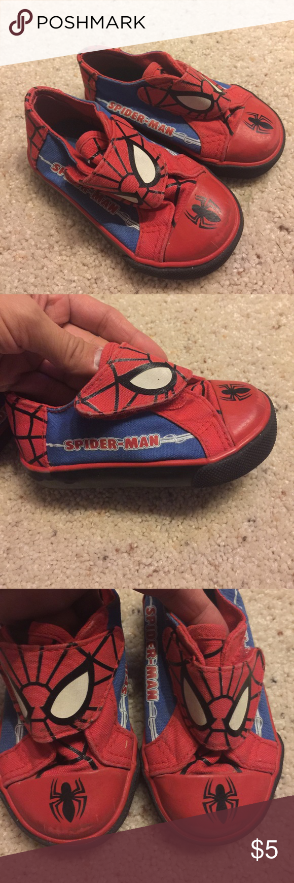 c1f09161bef7 Spider Man sneakers size 5.5 Used condition. Adorable sneakers. Velcro.  Refer pics for condition. Pet and smoke free home Marvel Shoes Sneakers