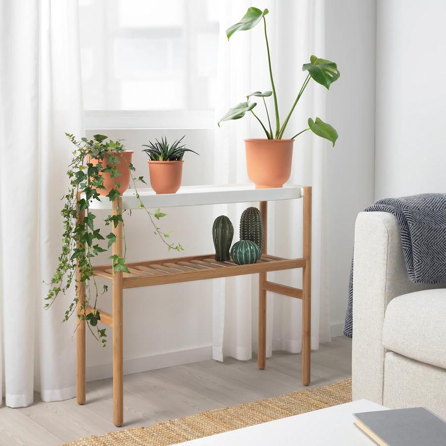 IKEA - SATSUMAS Plant stand, bamboo/white -   19 diy Interieur plants ideas