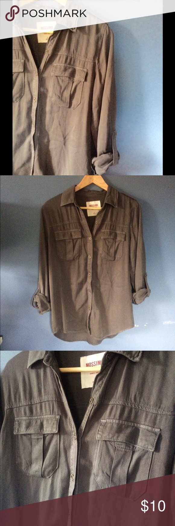 Button-Up Dark gray button up, the pictures make it look more brown. In great condition! Mossimo Supply Co. Tops Button Down Shirts