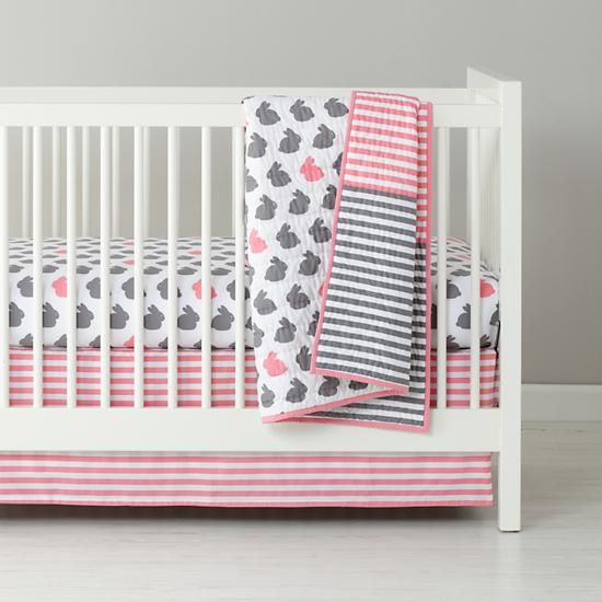 Baby Bedding Grey Pink Bunny Crib In Collections The Land Of