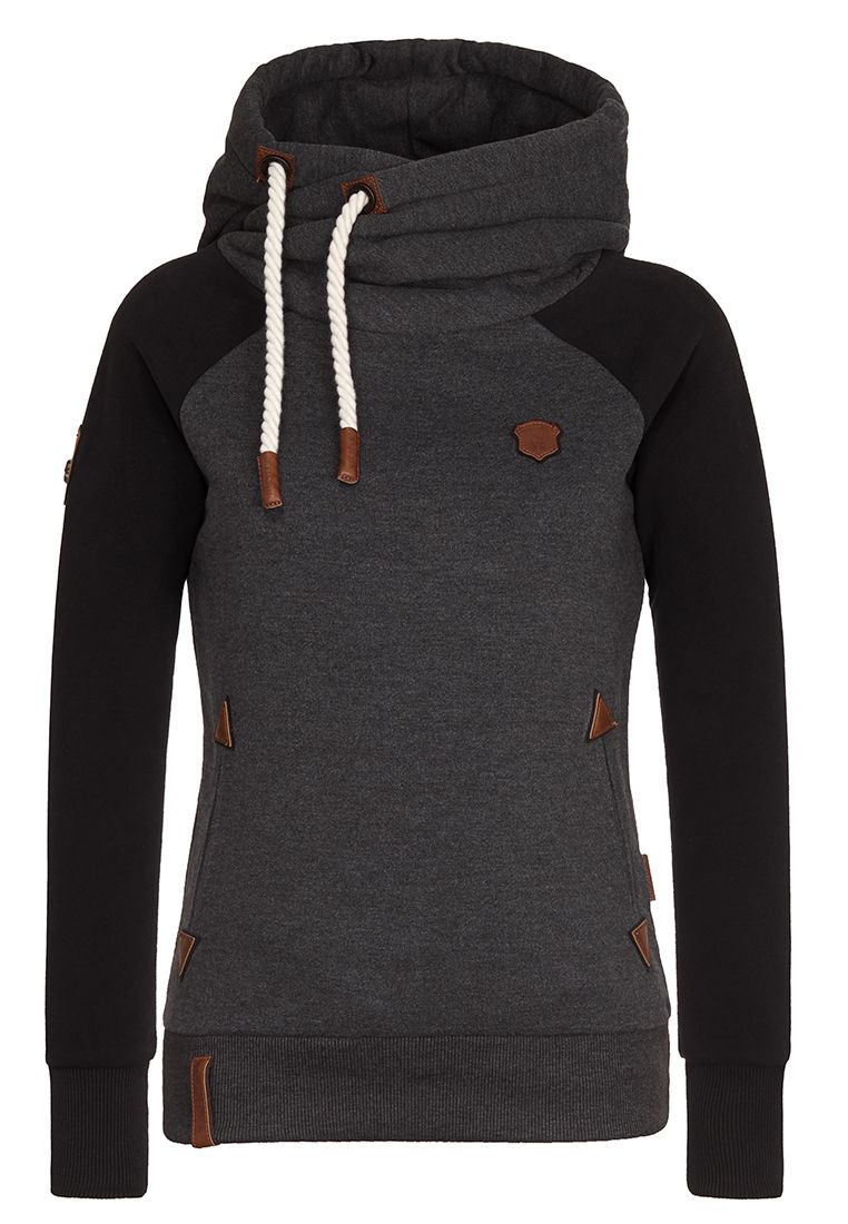 SO EIN OTTO III ANTHRACITE MELANGE BLACK Hoody with folded