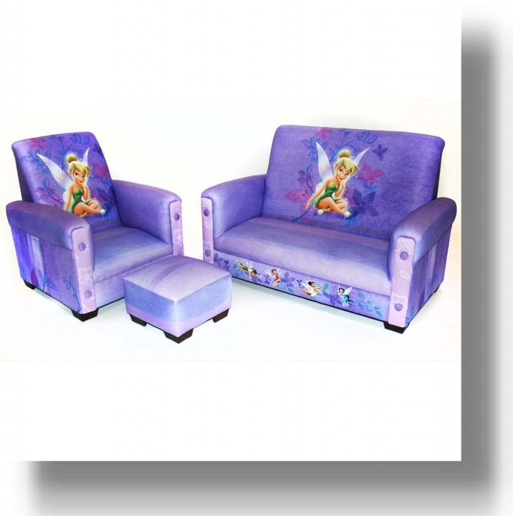 Disney   Tinker Bell Fairies Toddler Sofa  Chair and Ottoman Set  Delta  Childrens. Tinkerbell Recliner with Footstool and Matching Sofa   Princess