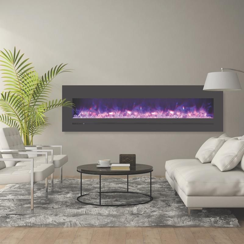 Sierra Flame Wall Mount Flush 72 Inch Electric Fireplace In Black