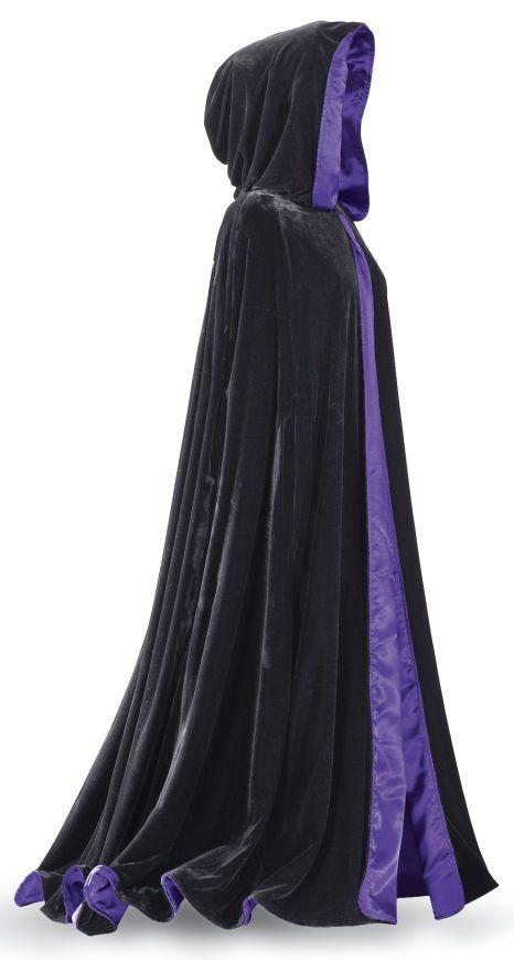 Deluxe Reversible Velvet Cloak Black Purple Hooded Cape Long Adult Costume New