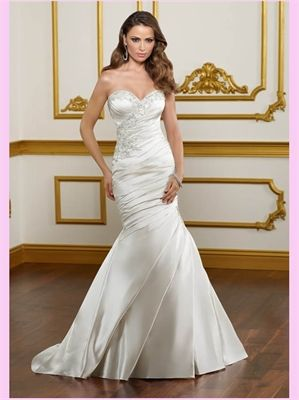 White Mermaid Beading Sweetheart Satin Wedding Dress