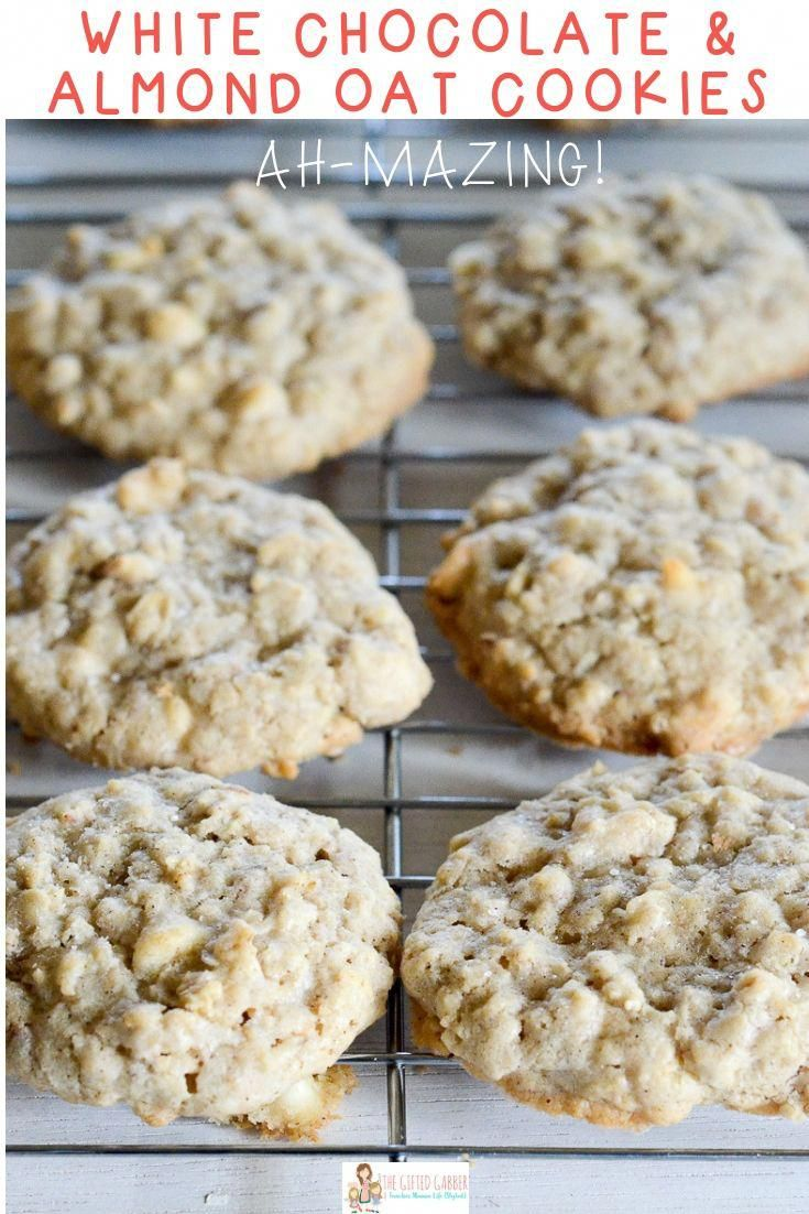These easy white chocolate chip and almond oatmeal cookies might be THE best cookies you will ever eat The white chocolate the almonds the oatmeal  they all play a fine t...