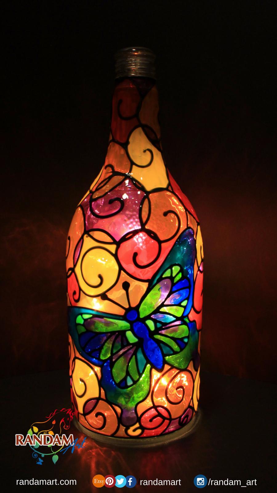 Hand painted bottle light. #Butterfly #BottleLight #Handmade #RandamArt www.randam-art.com