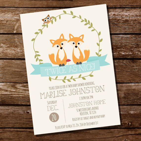 Woodland Twin Baby Shower Invitation for a Boy or Girl by SunshineParties on #Etsy.......TWINS!! #WoodlandTwinInvitation #WoodlandTwinBabyShower