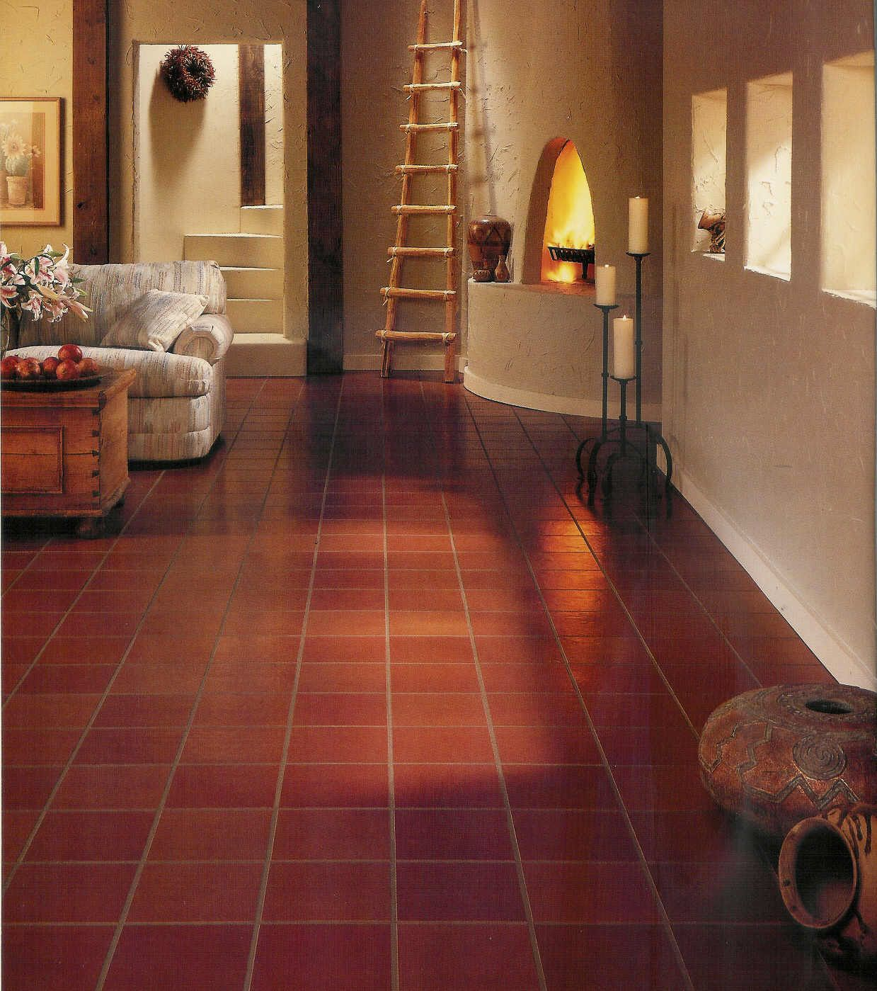 Vinyl Resillient Flooring Have Softness And Flexibility Of Vinyl Floor Also Reduces The Possibility Of Breakage When Plates Tile Floor Flooring Red Tile Floor