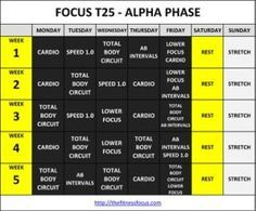 Download or Print the Focus T25 Workout Calendars | Health