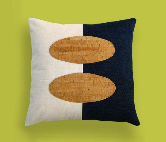 Indigo+Denim+and+Cork+Modern+Decorative+Pillow+12+x+by+SofaGarden,+$65.00
