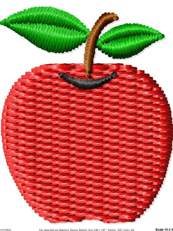 Apple Machine Embroidery Design Mini By Simplysweetembroider