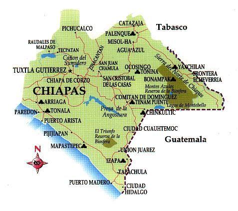 Chiapas Mapa Chiapas Chiapas Chiapas Turismo
