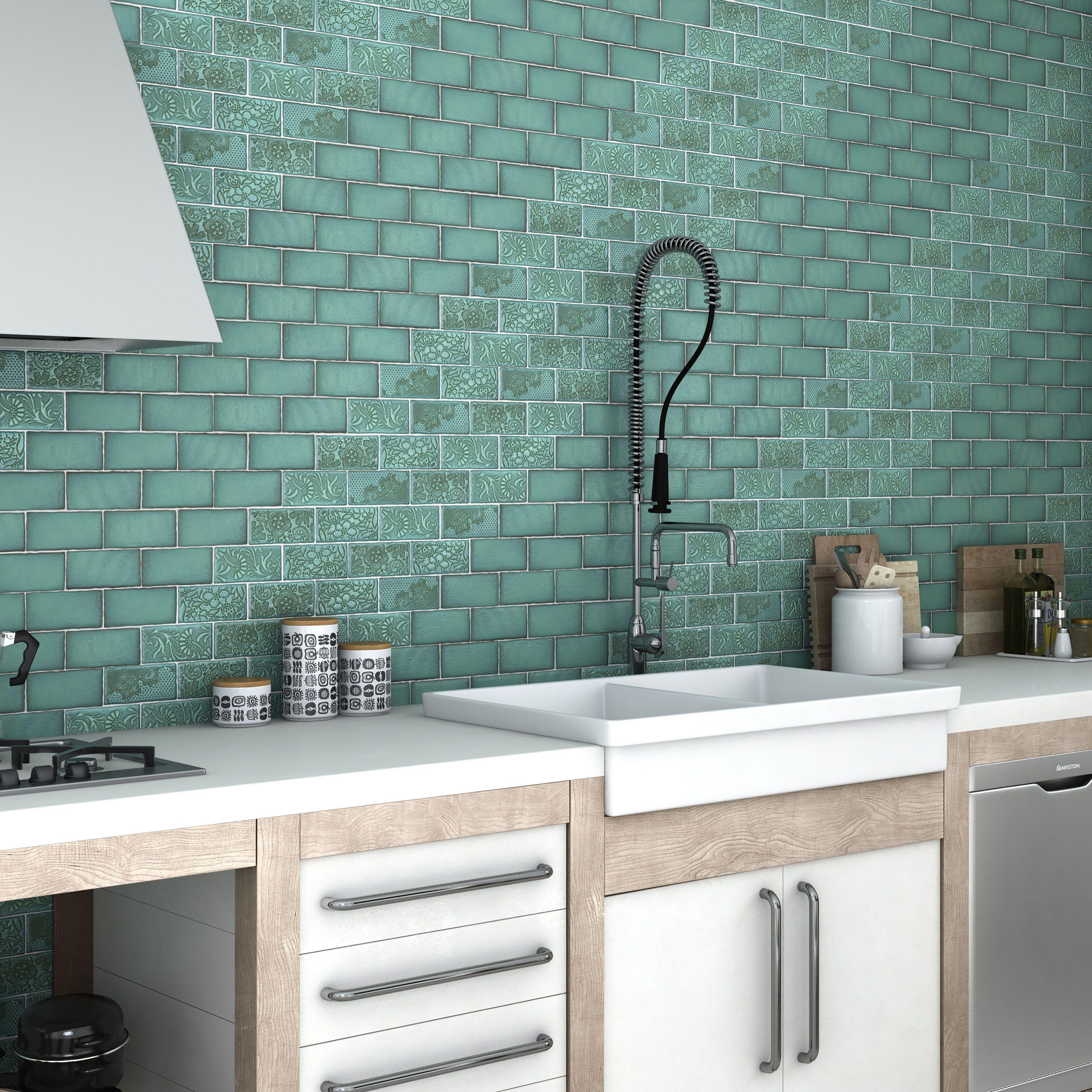 SomerTile 3x6-inch Antiguo Feelings Lava Verde Ceramic Wall Tile ...