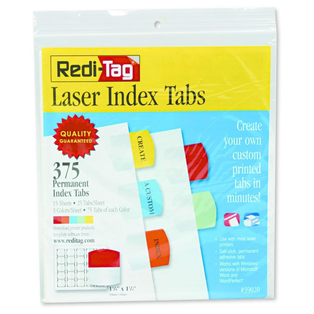 Redi Tag Laser Printable Index Tabs1 18 X 1 145 Colors375pack