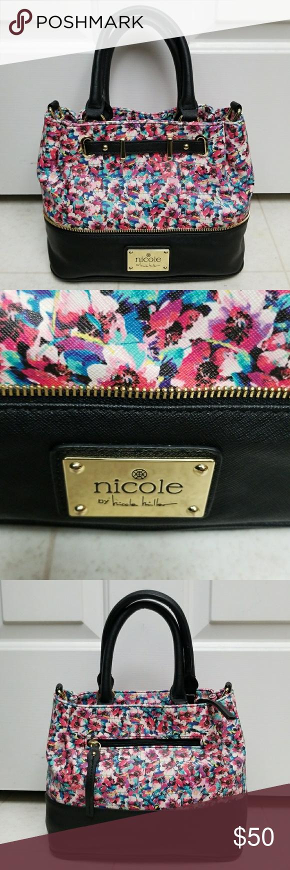 Nicole Miller Floral Purse Structured Saffiano Nicole