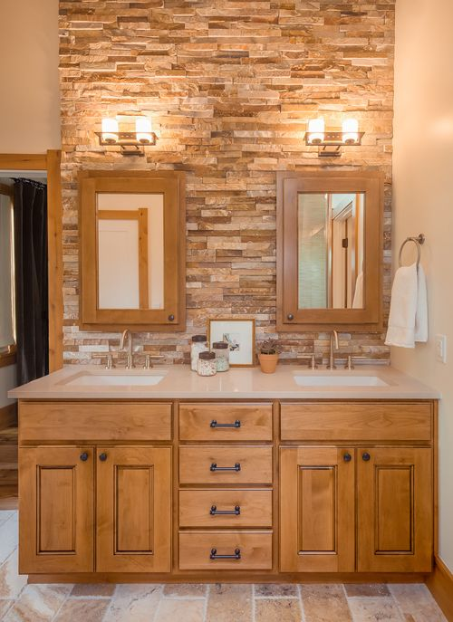 Denver Bungalow. Bathroom ColorsBathroom DesignsRock WallCustom ...