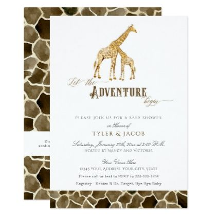 Watercolor giraffes safari adventure baby shower card newborn watercolor giraffes safari adventure baby shower card newborn baby gift idea diy cyo personalize family negle Images