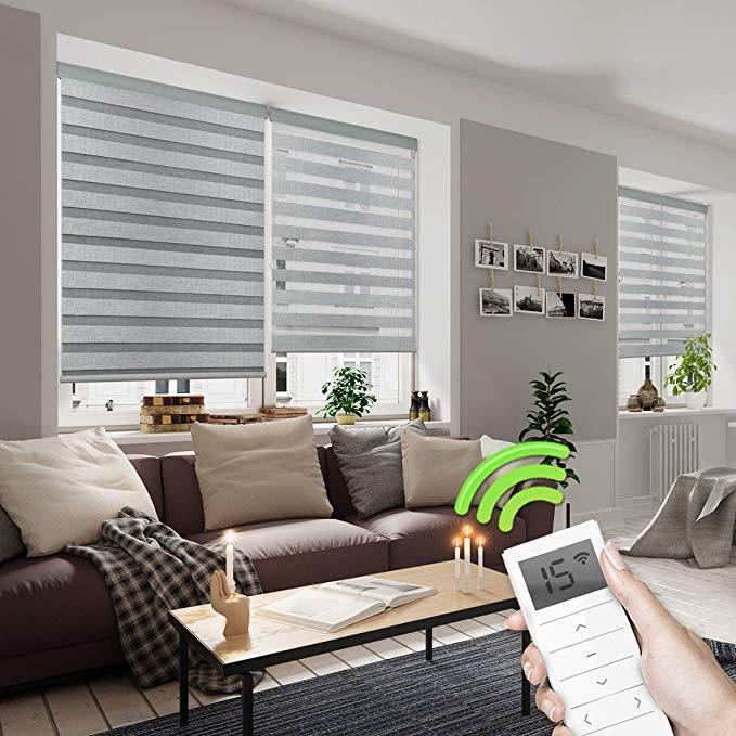 Amazon Com Yoolax Motorized Day And Night Window Shades Horizontal Zebra Dual Roller Shades Blinds Wireless Rechargeable Zebra Blinds Blinds House Interior