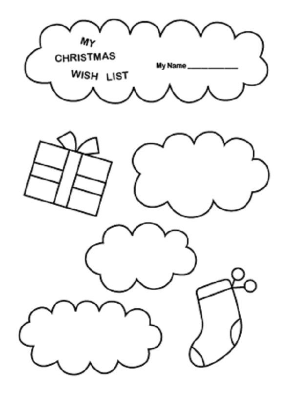 christmas list coloring page | coloring kids | Pinterest