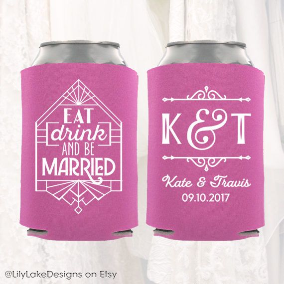 Personalized Wedding Can Cooler Custom Wedding Can Cooler Art
