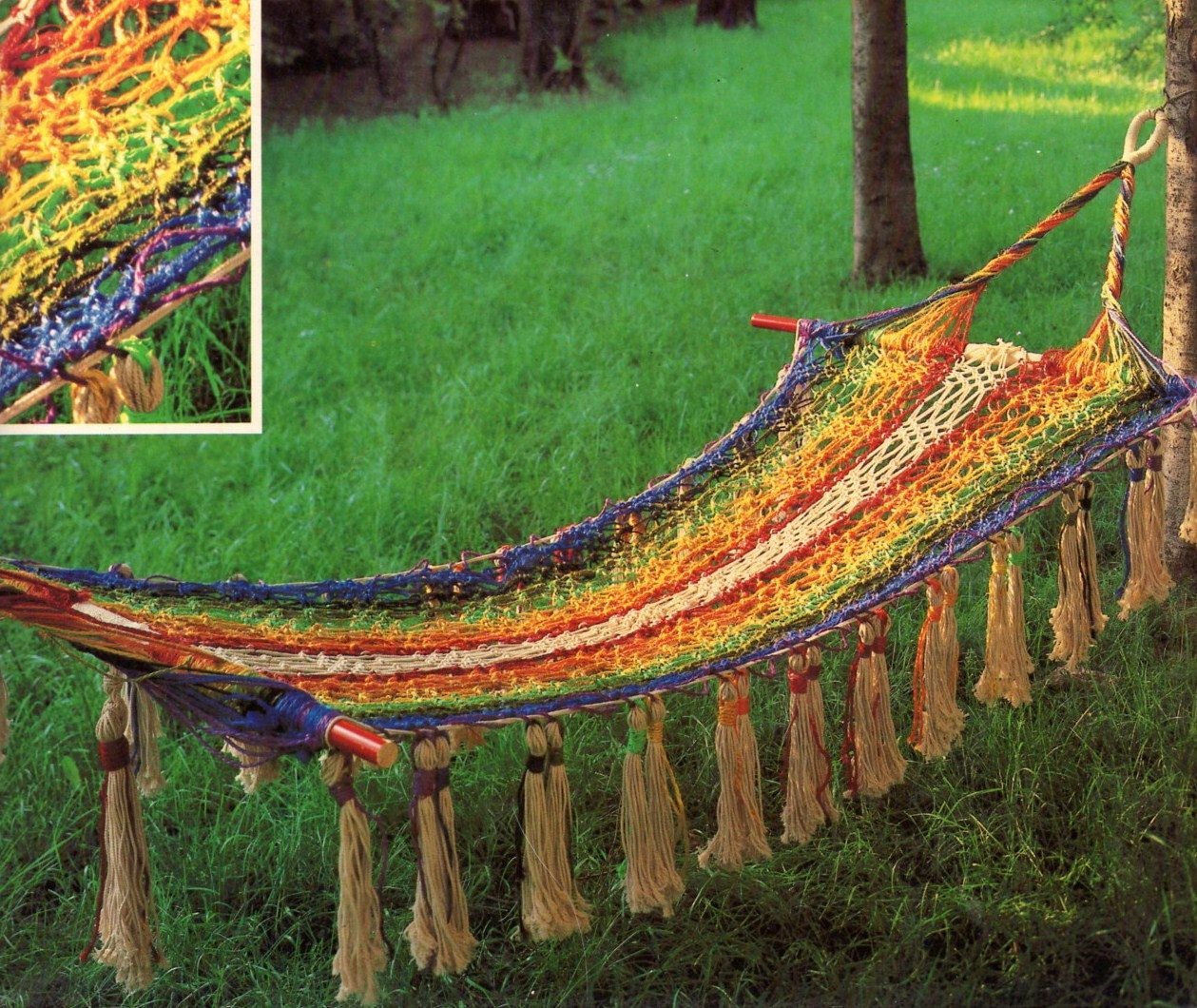 New magnificent macrame elegance hammock by for Macrame hammock chair pattern