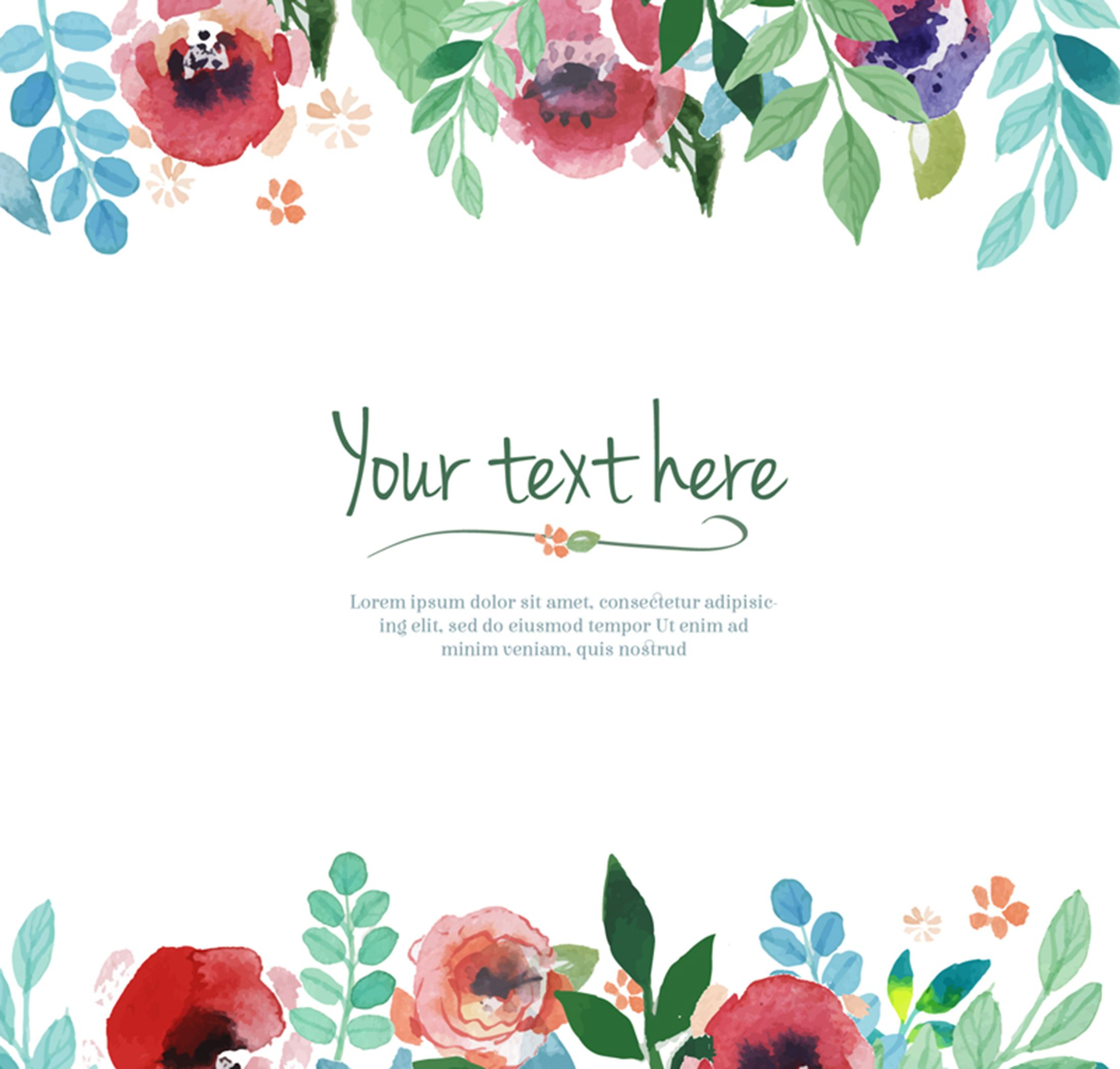 Watercolor Floral Border Background Material Floral Border