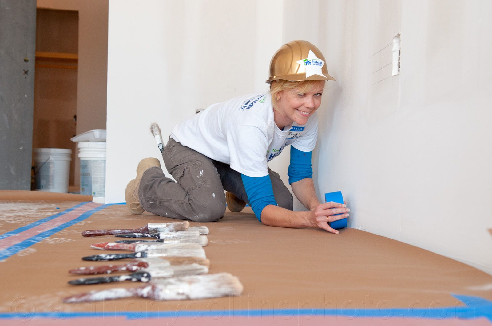 Emily Bergl laying down some tape at Broadway Builds #HabitatNYC Learn more about Habitat NYC at Habitatnyc.org