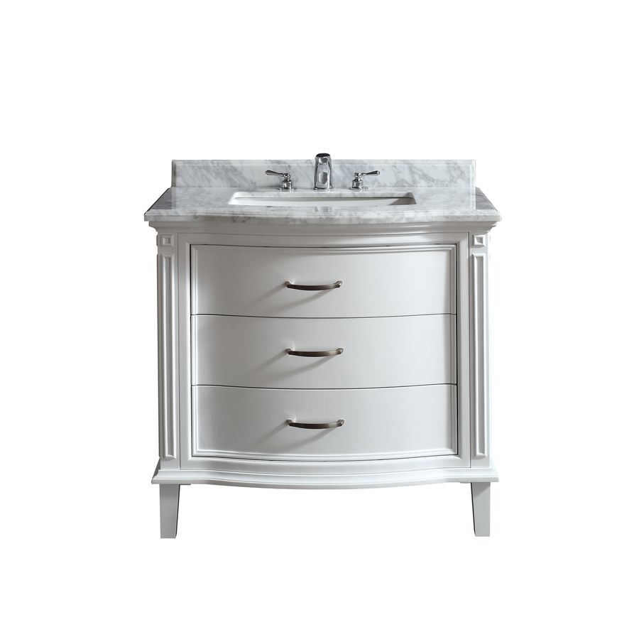 Shop OVE Decors Rachel White Undermount Single Sink Birch Bathroom Vanity  With Natural Marble Top (