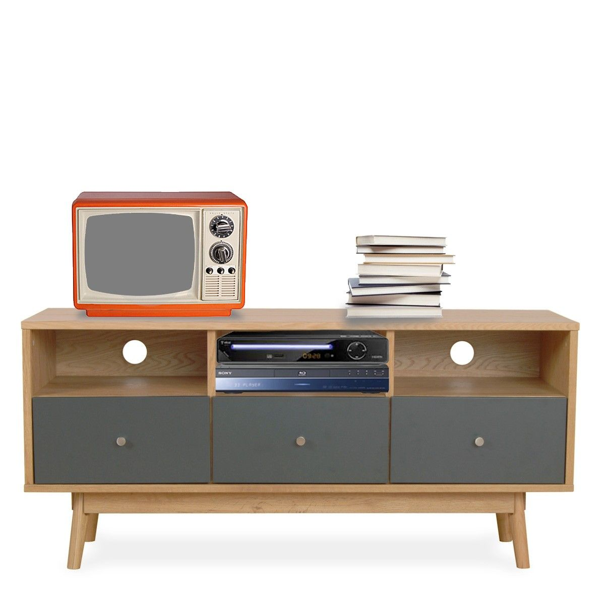 Meuble Tv Design Scandinave 3 Tiroirs Gris Et Bois Skoll Gris Gris