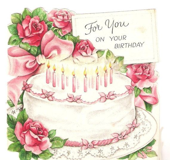 Vintage Birthday Card Pink Cake Birthday Cakes Pinterest