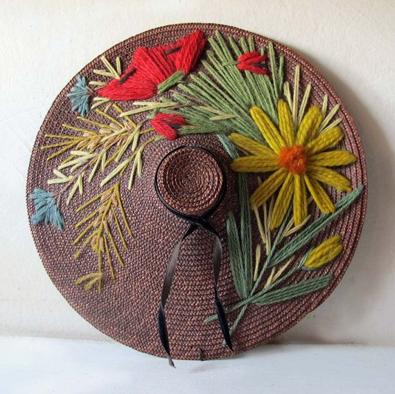 698ff9591 Vintage French Miniature Embroidered Summer Straw Hat Wall Décor ...