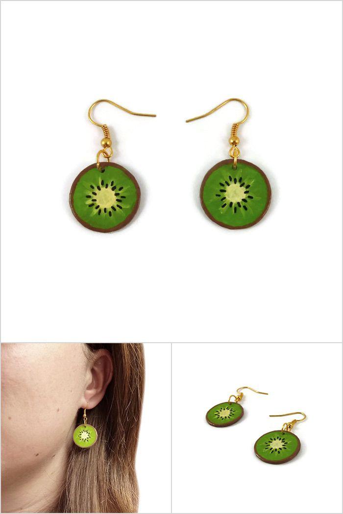 ventes spéciales acheter bien Boucles d'oreille rondelles de kiwi vertes, boucles d ...
