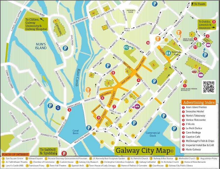 Street Map Of Ireland.Street Map Of Galway Town Ireland Map Ireland Street