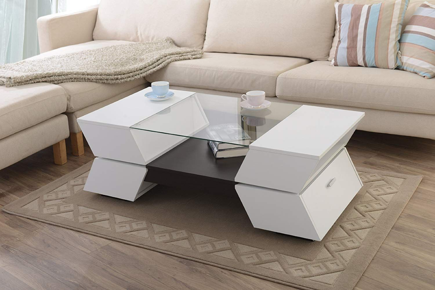 Amazon Com Homes Inside Out Iohomes Ariadne 4 Compartment Coffee Coffee Table Modern Sofa Table Contemporary Coffee Table [ 1000 x 1500 Pixel ]