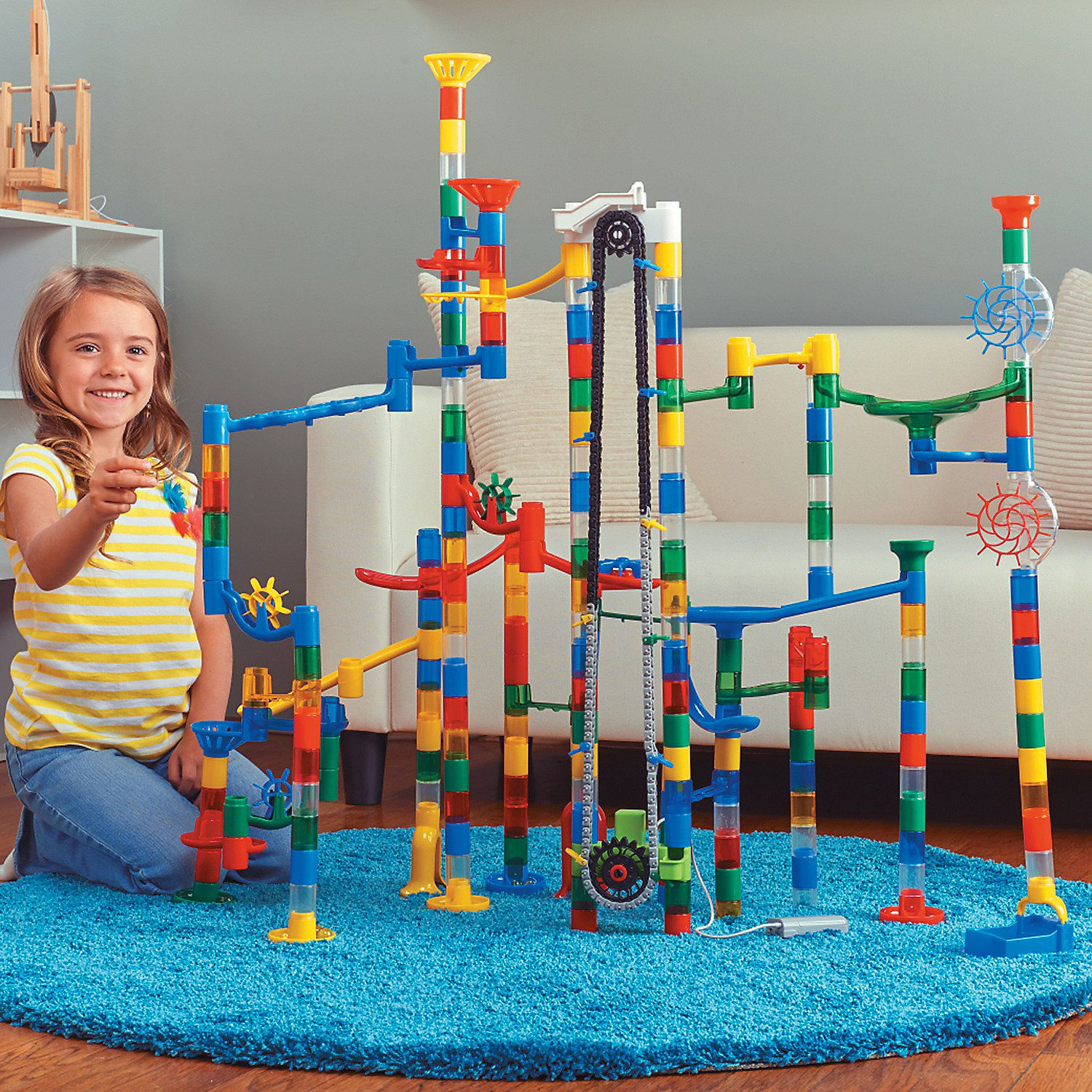 215 Piece Mega Marble Run With Motorized Marble Elevator Marble Run Stem Toys Classic Toys
