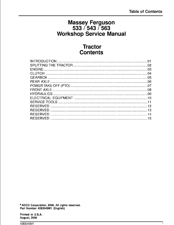 Massey Ferguson 533 543 563 Tractor Service Manual Massey Ferguson Tractors Massey Ferguson Tractors