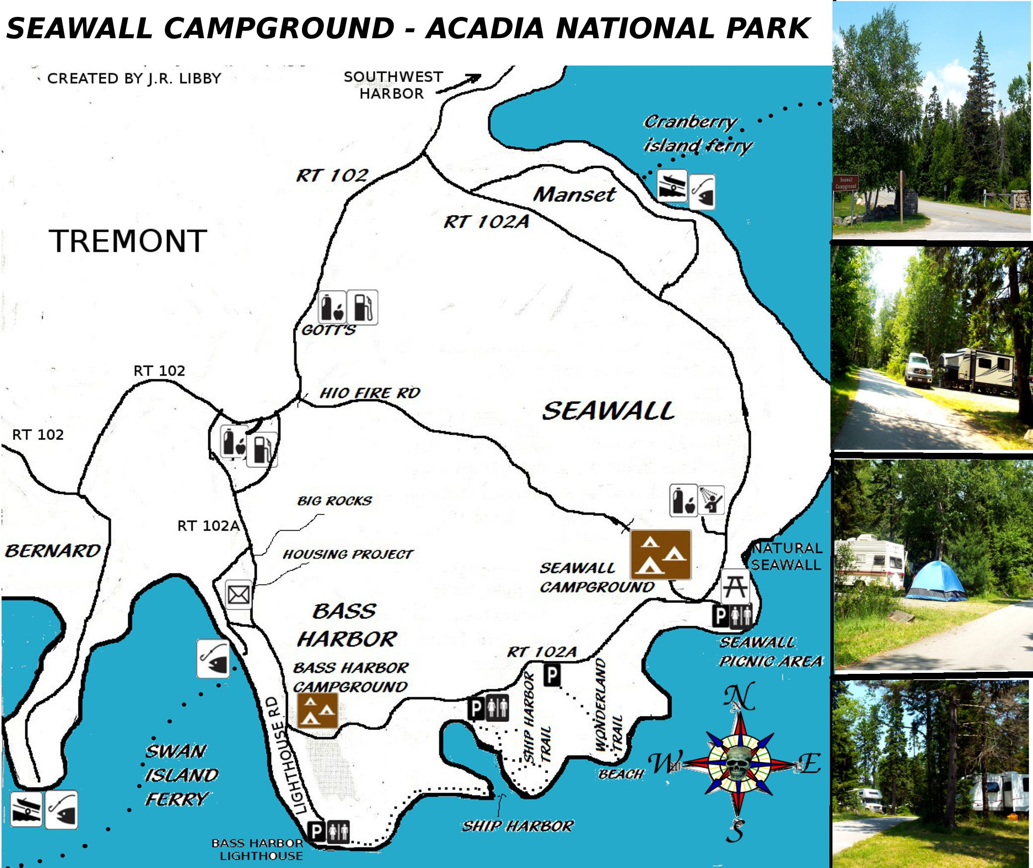 Map Of Seawall Campground In Acadia National Park SEawall - Acadia national park on the map of the us