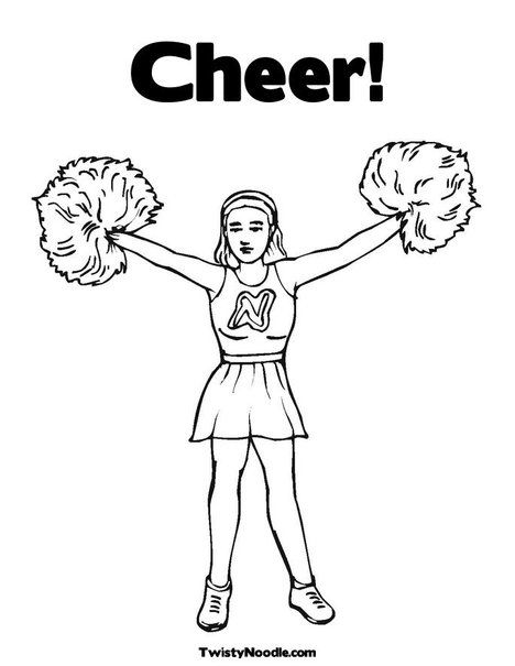 Cheerleader With Pom Poms Coloring Page Sports Coloring Pages