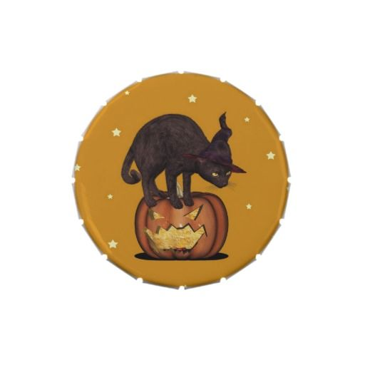 Black Cat Witch Hat Stars Jelly Belly Candy Filled Tins. #blackcat #halloween #halloweenparty #candytin