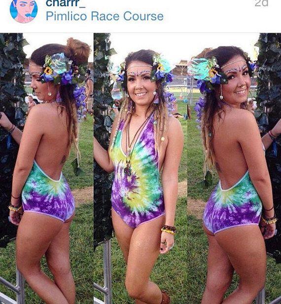 Custom Shibori Tie Dye Bodysuit Swimwear Festival Rave Outfit - Custom Shibori Tie Dye Bodysuit Swimwear Festival Rave Outfit My