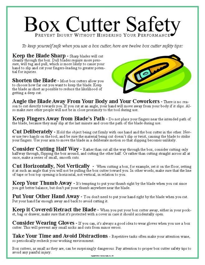 Box Cutter Safety Poster Safety posters