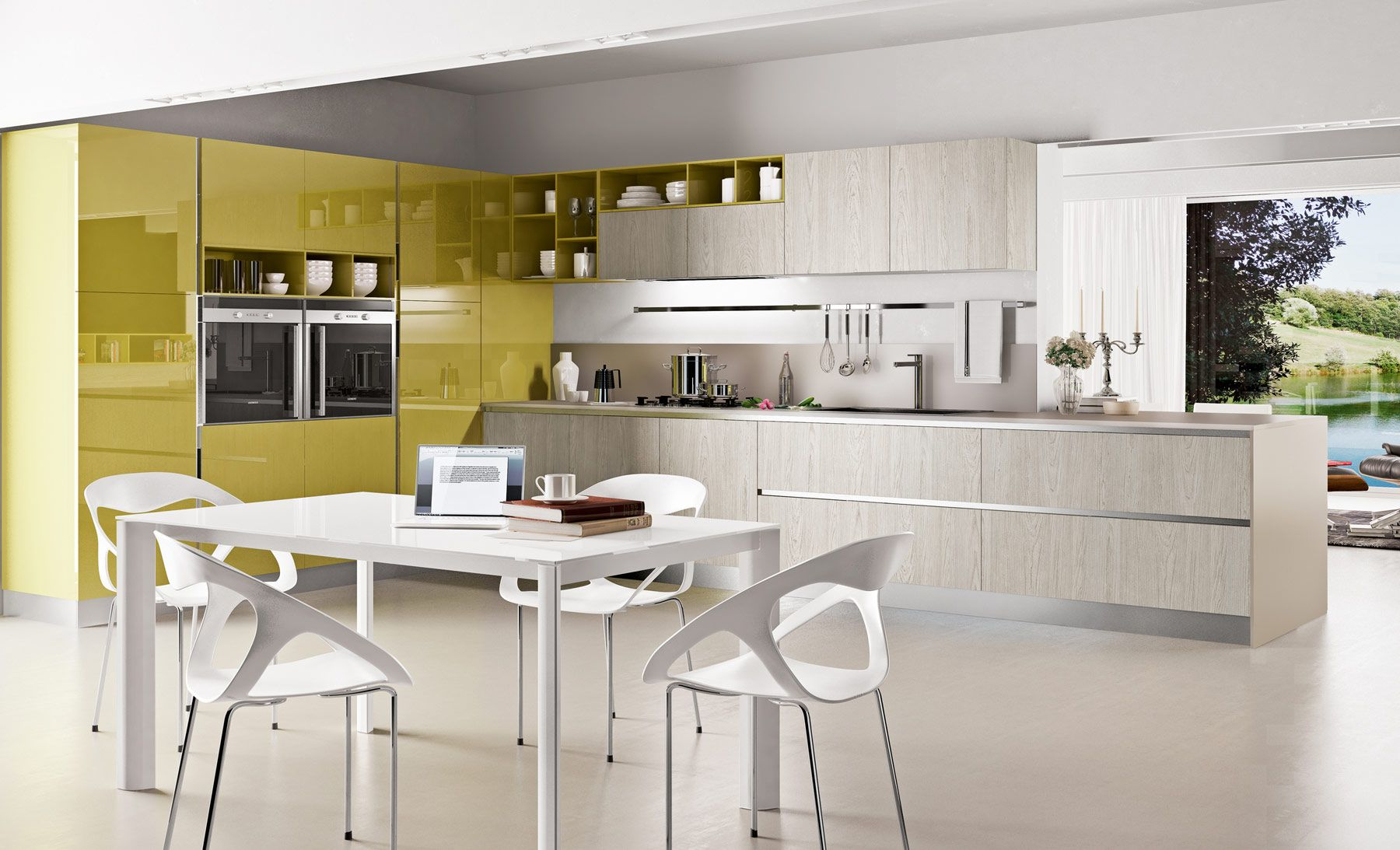 Light Yellow Kitchen Colorful Kitchen Designs With Gloss Yellow And Light Gray With