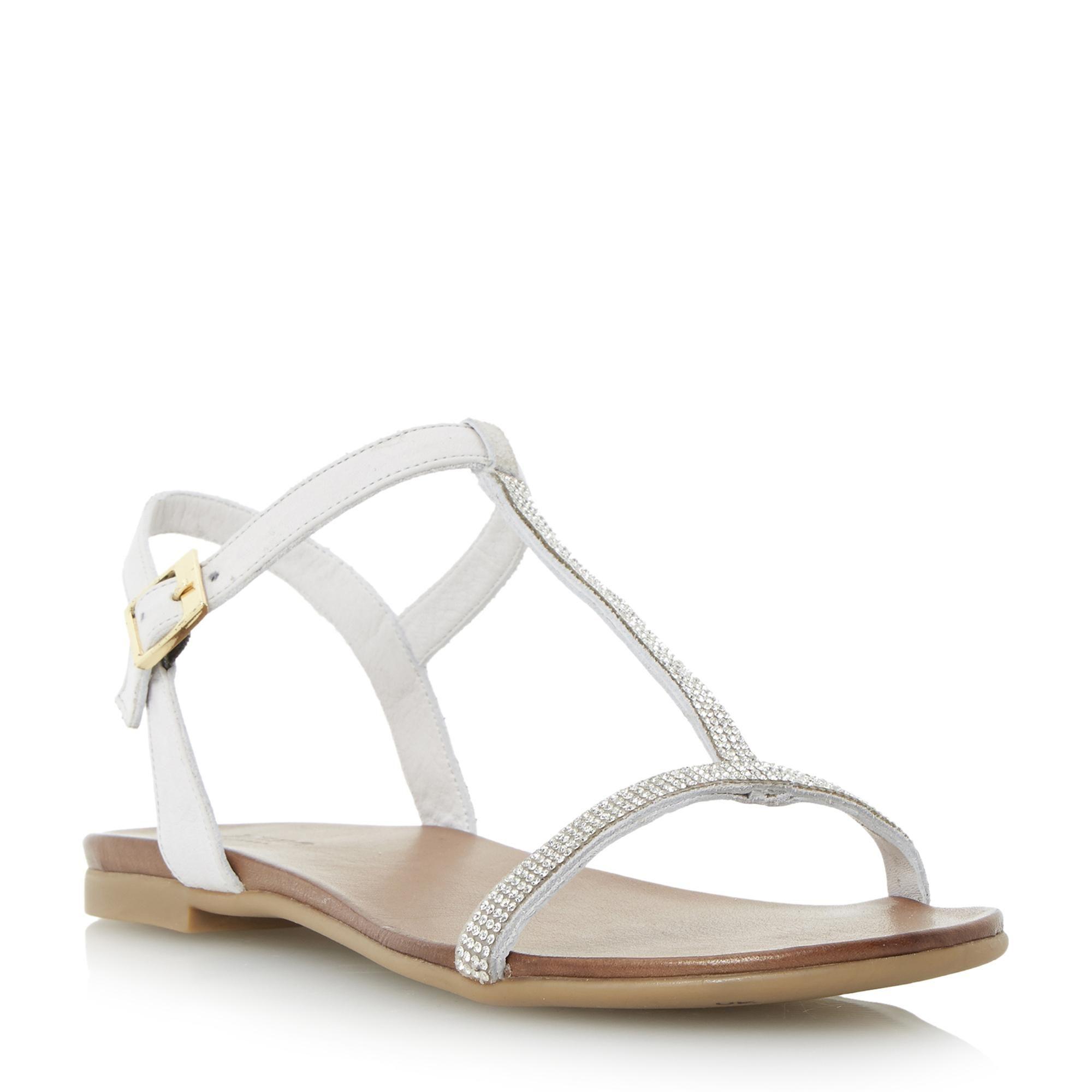 ee44611bafa DUNE LADIES LIFESTORY - Diamante T-bar Sandal - white